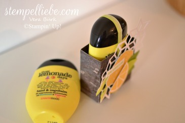 Geschenk Handcreme verpackt Zitrone Stampin Up Stempelliebe
