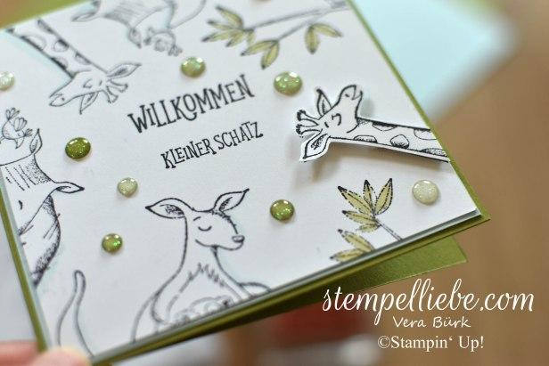 Stampin Up Wild auf Grüße Tiere Baby Karte Detail